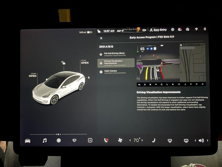 特斯拉最快十月釋出 FSD beta 可視化介面,沒參與測試的車主也能感受一下「汽車思維」