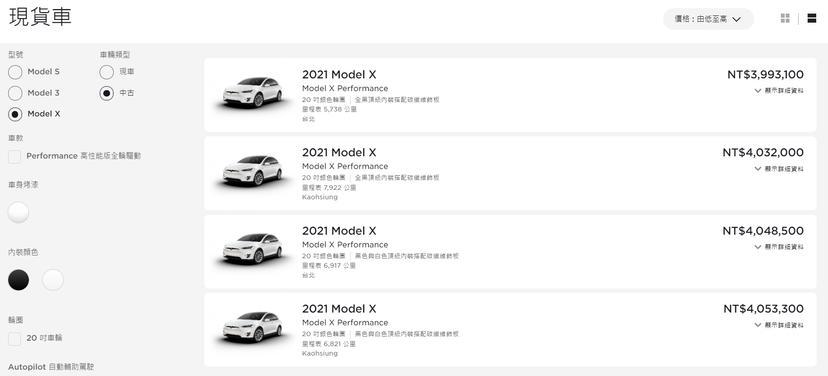 售價-399-萬元起、里程最低不到六千公里,多台特斯拉-Model-X-官方中古車上架-1